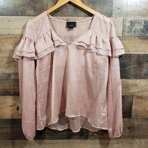 Lumiere star print semi sheer ruffle shirt
